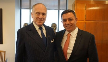 Labor head Avi Gabbay with Ron Lauder, President of the World Jewish Congress, in New York on Tuesday November 28.