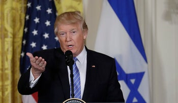 U.S. President Donald Trump speaks at a press conference with Israeli Prime Minister Benjamin Netanyahu on February 15, 2017.