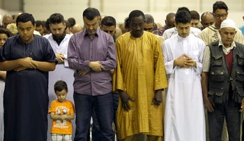 File photo: Muslims offer Eid al-Adha prayers in a convention center in Marseille, southern France