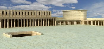 An illustration of the Stoa on Temple Mount.