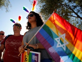 FILE PHOTO: Participants take part in the annual Gay Pride parade in Jerusalem July 21, 2016.