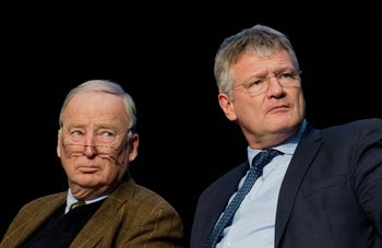Reelected chairman of the far-right Alternative for Germany (AfD) Joerg Meuthen and newly-elected co-chairman Alexander Gauland (L) at the party congress in Hanover. December 3, 2017