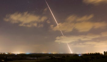 File photo: A rocket fired at Israel from the Gaza Strip.