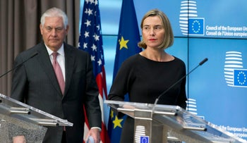 EU foreign policy chief Federica Mogherini U.S. Secretary of State Rex Tillerson in Brussels on December 5, 2017.
