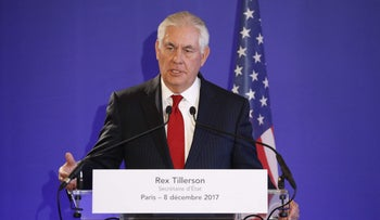 US Secretary of State Rex Tillerson speaks during a press conference on December 8, 2017 in Paris.