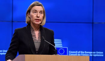 EU foreign policy chief Federica Mogherini holds a joint news conference at the European Council in Brussels, Belgium November 8, 2017.