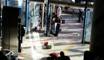 Scene of stabbing at Jerusalem's central bus station, December 12, 2017.