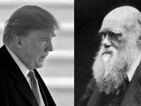 Is the sky blue and why the world isn't flat: Wikipedia's war on post-truth. PICTURED SIDE BY SIDE: U.S. President Donald Trump and Charles Darwin.