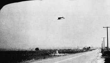 This is one of three photos of a supposed UFO taken by Rex Heflin, August 3, 1965, near Santa Ana, Calif. Heflin is an Orange County highway department investigator
