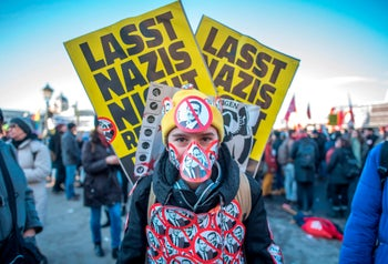 A protester against the new Austrian government which included a far-right party with Nazi roots. Vienna, Austria. December 18, 2017