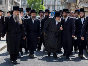 FILE PHOTO: Council of 'sages' belonging to ultra-Orthodox party head to a meeting to discus a political appointment
