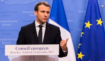 French President Emmanuel Macron discussing the Syrian civil war, December 15, 2017.
