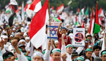 Protesters condemn U.S. President Donald Trump's Jerusalem move in Jakarta, Indonesia, December 17, 2017