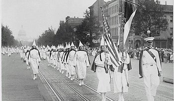 Members of the second coming of the Ku Klux Klan marching on Pennsylvania Avenue in Washington in 1928.
