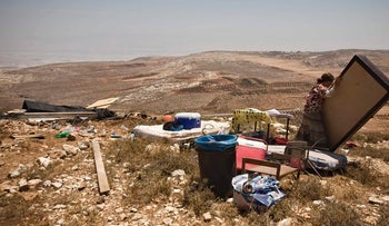 File photo of the site of a 2009 building demolition at the Adei Ad outpost