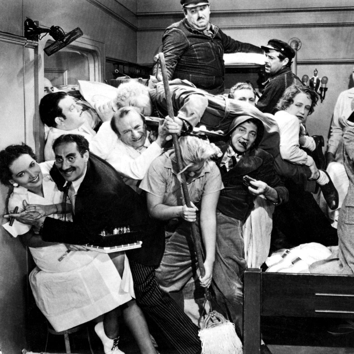 A scene from 'A Night at the Opera,' starring the Marx brothers.
