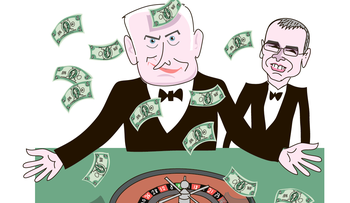 An illustration showing Netanyahu in a tux throwing around money above a roulette table. Minister Yariv Levin stands behind him.