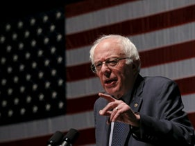 U.S. Democratic presidential candidate Bernie Sanders speaks at a town hall campaign event in Charleston, South Carolina, February 16, 2016.