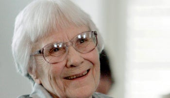 In this Aug. 20, 2007, file photo, author Harper Lee smiles during a ceremony honoring the four new members of the Alabama Academy of Honor at the Capitol in Montgomery, Ala.