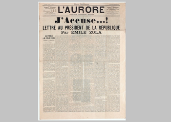 """""""J'accuse ...!"""", Front page of the newspaper Aurora, published on 13 January 1898, featuring the letter from Emile Zola to the President of the Republic, Felix Faure about the Dreyfus Case."""