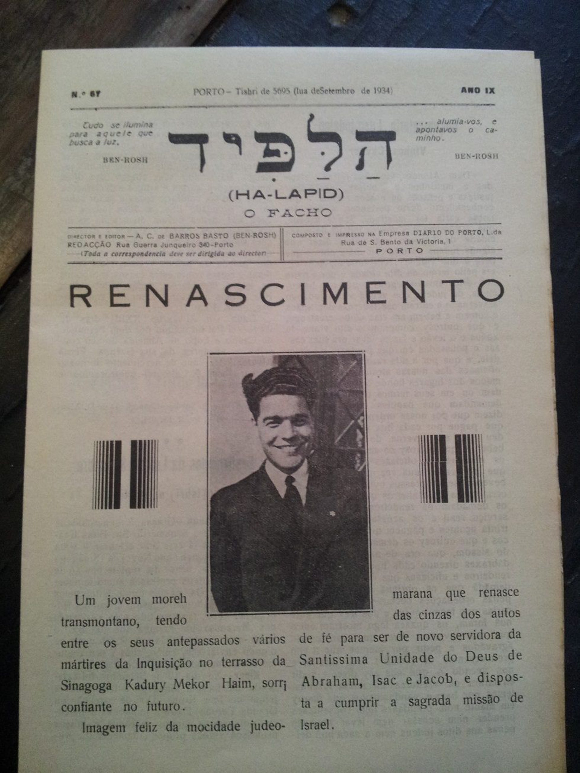 The cover of the Jewish journal Halapid, featuring Francisco Bráz Rodrigues, one of the founders of the Porto community.