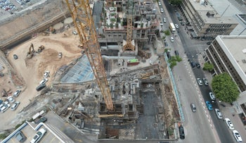 A bird's eye view of a construction site in Tel Aviv.