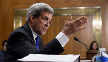 Secretary of State John Kerry testifies on Capitol Hill in Washington, Tuesday, Feb. 23, 2016, before the Senate Foreign Relations Committee hearing of the State Department's fiscal 2017 budget request.