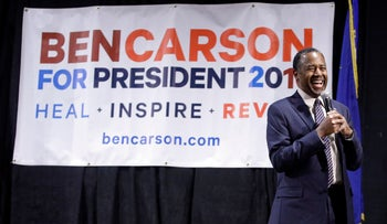 Ben Carson at a town hall meeting in Reno, Nevada, Feb. 21, 2016.