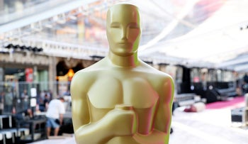 An Oscar statue is seen during setup for the 88th Academy Awards in Los Angeles, February 24, 2016.