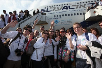 Young Jews arrive in Israel for a Birthright trip.