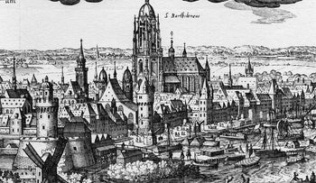 A picture of Frankfurt-am-Main in 1612, two years before the popular uprising against the city fathers and the Jews, and four years before the uprising's leaders would be executed.