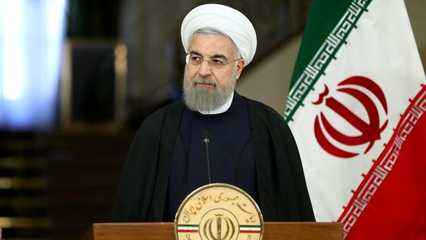 Iranian President Hassan Rouhani speaks with media at the Saadabad Palace in Tehran, Iran, Saturday, Feb. 27, 2016.