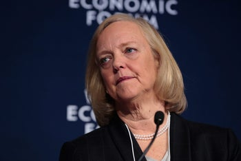 Meg Whitman, president and chief executive officer of Hewlett Packard Enterprise Co. at the World Economic Forum in Switzerland, January 20, 2016.