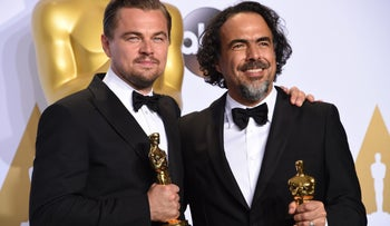 Leonardo DiCaprio (L) poses with the Oscar for Best Actor, and Alejandro G. Inarritu poses with the Oscar for Best Director in the press room during the 88th Oscars on February 28, 2016 in Hollywood.