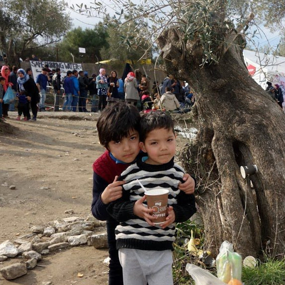 Refugee children posing for a picture together on the Greek island of Lesbos.