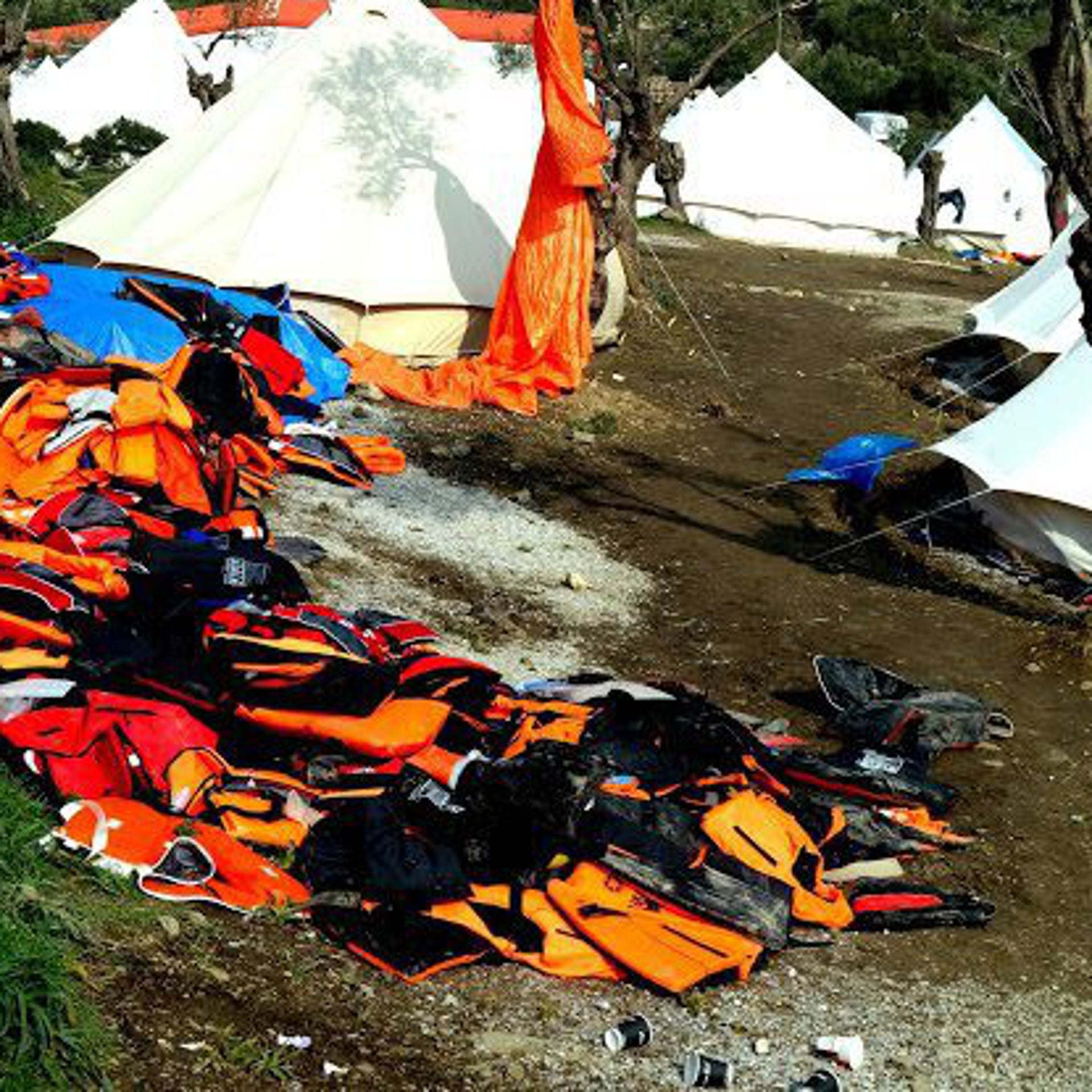 Life vests strewn at the refugee camp in Lesbos, Greece as thousands have shuffled their way through the Greek island.