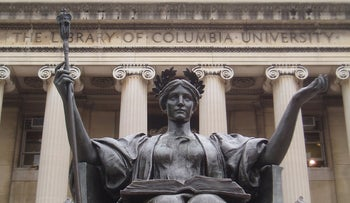 The Alma Mater statute on the Columbia University campus in New York.