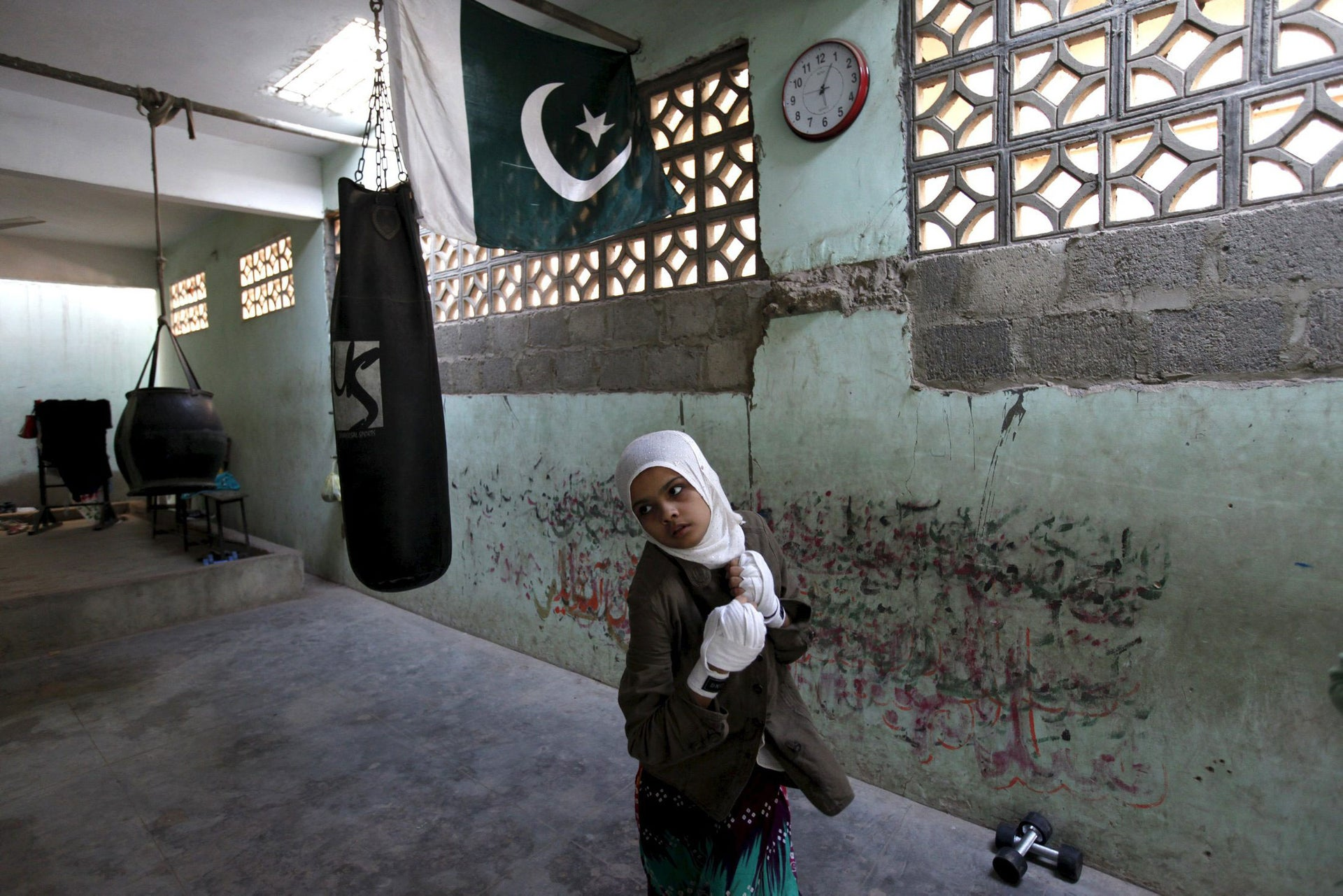 Mehek, 15, practices at the women's boxing camp in Karachi, on February 19, 2016.