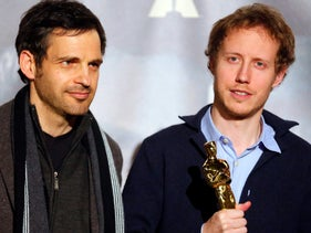 Laszlo Nemes (R), director and lead actor of the film Geza Rohrig of Hungarian film 'Son of Saul' which won the Oscar in the Best Foreign Language Film category attend a news conference in Budapest, Hungary, March 2, 2016.