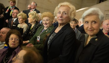 Holocaust survivors attending an event at the U.S. Capitol building in Washington, D.C., honoring the victims of Nazi persecution, April 30, 2014.