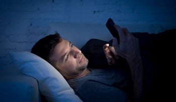 Cellphone in bed: Don't do this.
