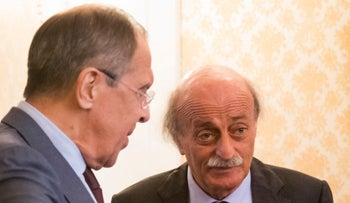 Lebanese Druze leader Walid Jumblatt with Russian Foreign Minister Sergey Lavrov in Moscow, June 23, 2017.