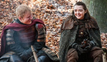 "Ed Sheeran, left, and Maisie Williams in his scene from ""Game of Thrones."""
