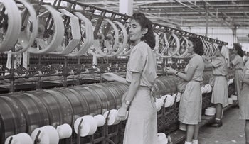 File photo: Women at work at a textile factory in Kiryat Ata