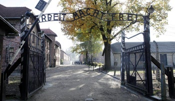 The main gate at the former German death camp of Auschwitz, in Oswiecim, Poland. The photo was taken on October 19, 2012.