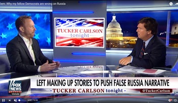 "The U.S. far left and far right have found love in common: Assad and Putin. Max Blumenthal tells Tucker Carlson on Fox News ""Russian hysteria has buried the Left"". 17 July 2017"