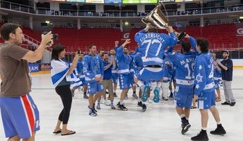 Israeli players celebrating their win in the European Box Lacrosse Championships, July 15, 2017.