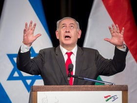 Netanyahu delivers his speech in the Goldmark Room of the Federation of Jewish Religious Communities of Hungary (Mazsihisz) Office in Budapest, Hungary, Wednesday, July 19, 2017