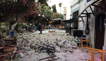 Damage caused by a quake in Kos, Greece, July 21, 2017.