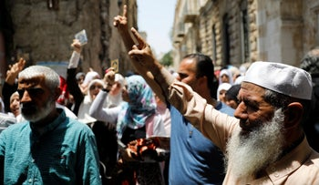 Palestinians shout slogans during a protest over Israel's new security measures at the compound housing al-Aqsa mosque on Temple Mount, in Jerusalem's Old City July 20, 2017.